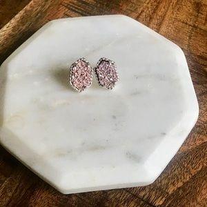 Blush Pink & Silver Dainty Druzy Stud Earrings NEW